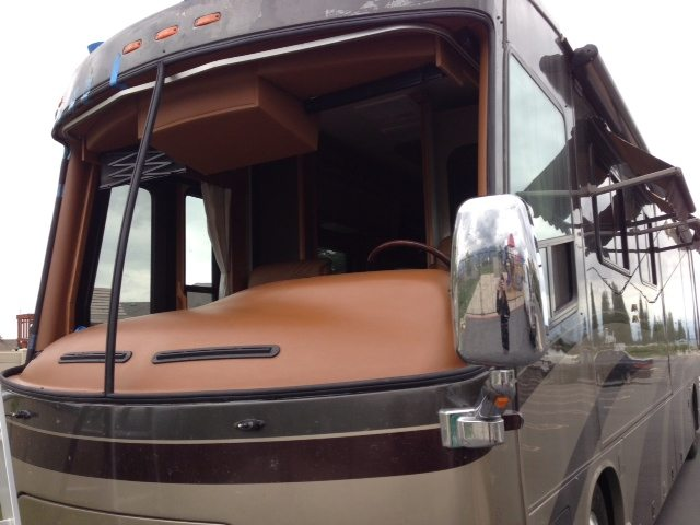 RV with old windshield removed