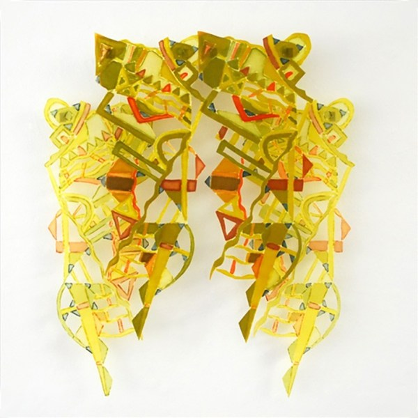 Green Waves and Triangles Silk Wall Hanging by Joy Stocksdale