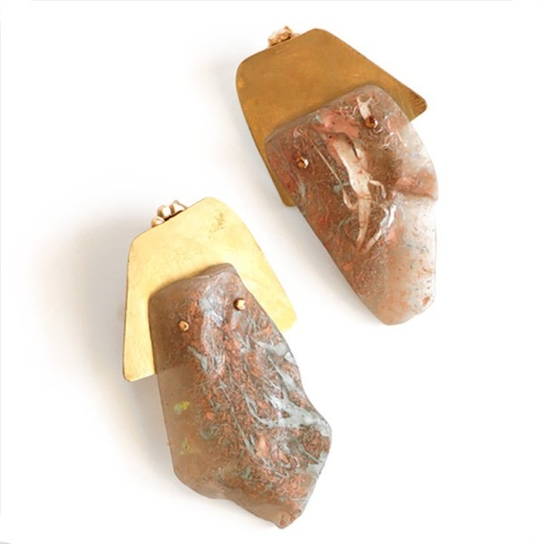 """""""I Hear It Came From a French Mole"""" Taupe Resin Post Earrings by Maru López"""