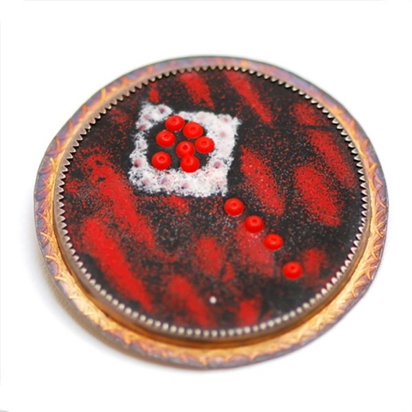 Red and Black Enamel Brooch by Julie Shaw
