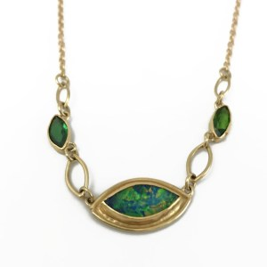 Australian Opal Doublet and Chrome Diopside Necklace