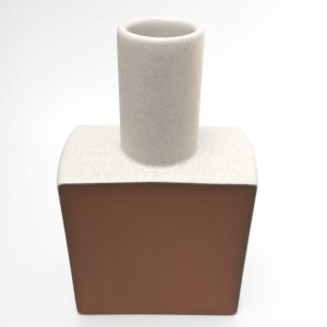 matte white glazed vase, square base, slender neck, unglazed face