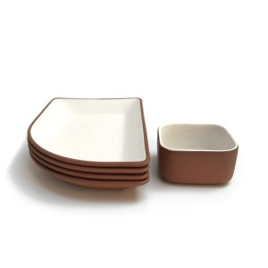 five piece white matte clay dish set