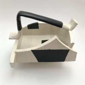 Black and White Ceramic Basket with Handle