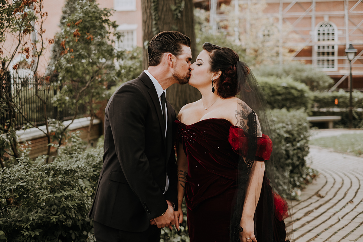 red velvet wedding dress | philadelphia wedding | moody film wedding photography | travel wedding photographer