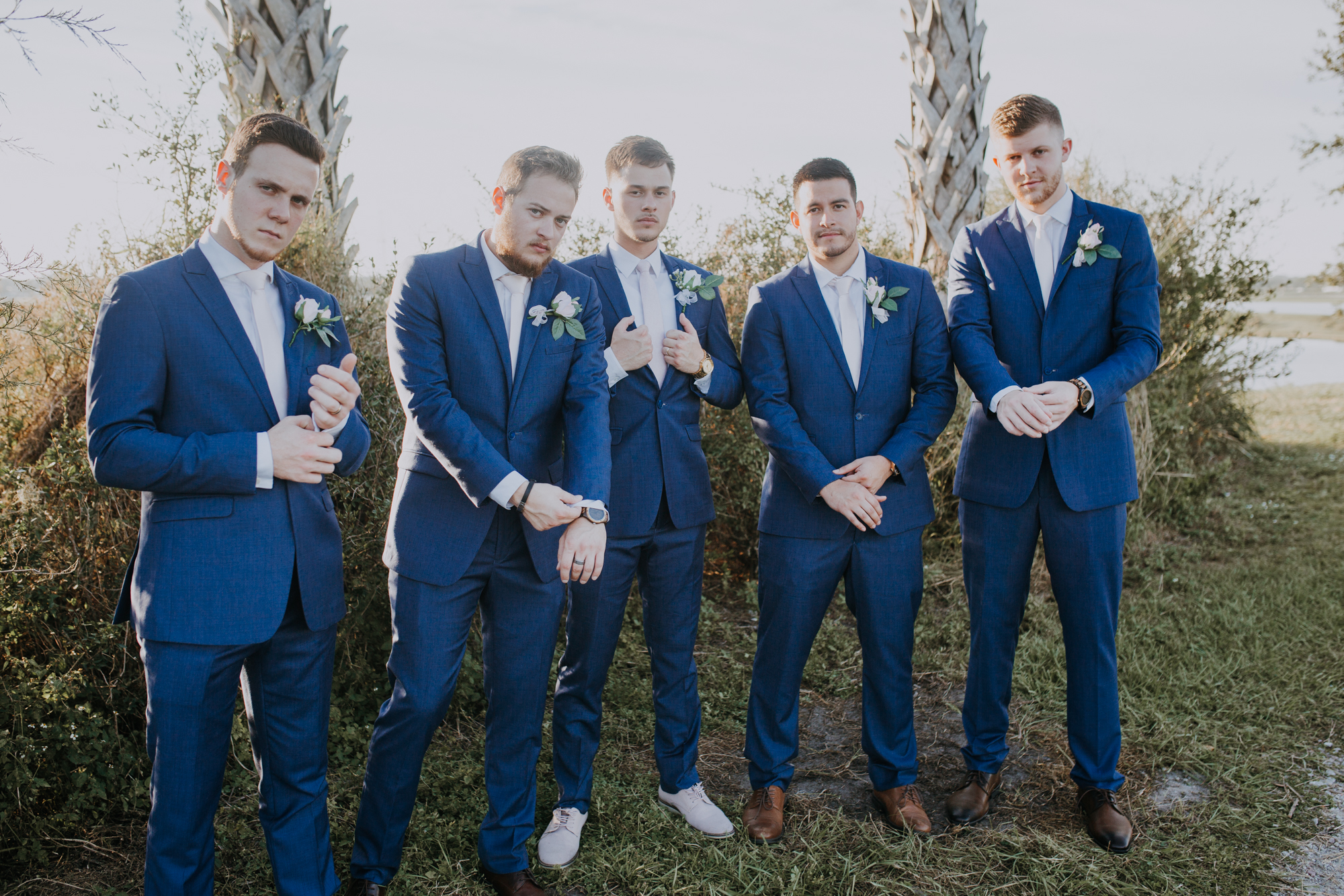 boho bridal party | bridal party portraits | groomsmen portraits | outdoor Florida wedding | sarasota wedding