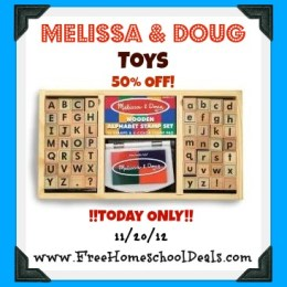 Many Melissa and Doug Toys – 50% Off – Today Only! 11/20/12