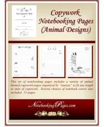 Free Copywork Notebooking Pages Animal Designs (55-Pages Save $3.95!)