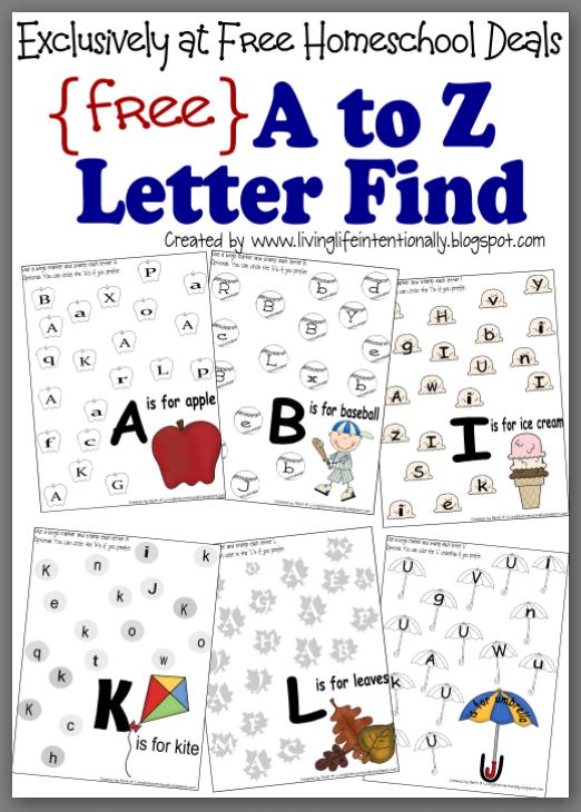 free instant download complete a to z letter find worksheet packet 27 pages free homeschool. Black Bedroom Furniture Sets. Home Design Ideas