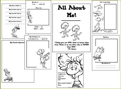 Free Dr. Seuss All About Me Printable Book