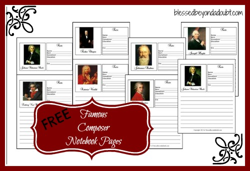 FREE Music Composer Notebooking Pages