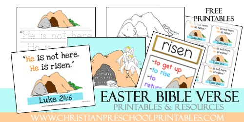 Free Preschool and Kindergarten Bible Verse Printables for Luke 24:6 ...