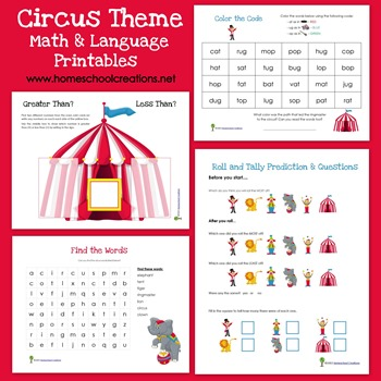 free worksheets circus theme math and language printables free homeschool deals. Black Bedroom Furniture Sets. Home Design Ideas
