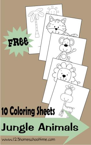 FREE Jungle Animals Coloring Sheets