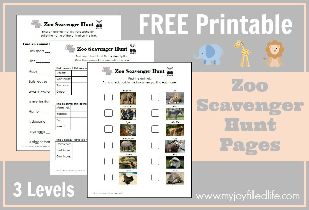 Free Printable Zoo Scavenger Hunt Pages 3 Levels Free