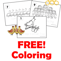 Free 12 Days of Christmas Coloring Sheets {instant download!}