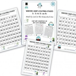 Free Math Worksheets: Winter Skip Counting Pages
