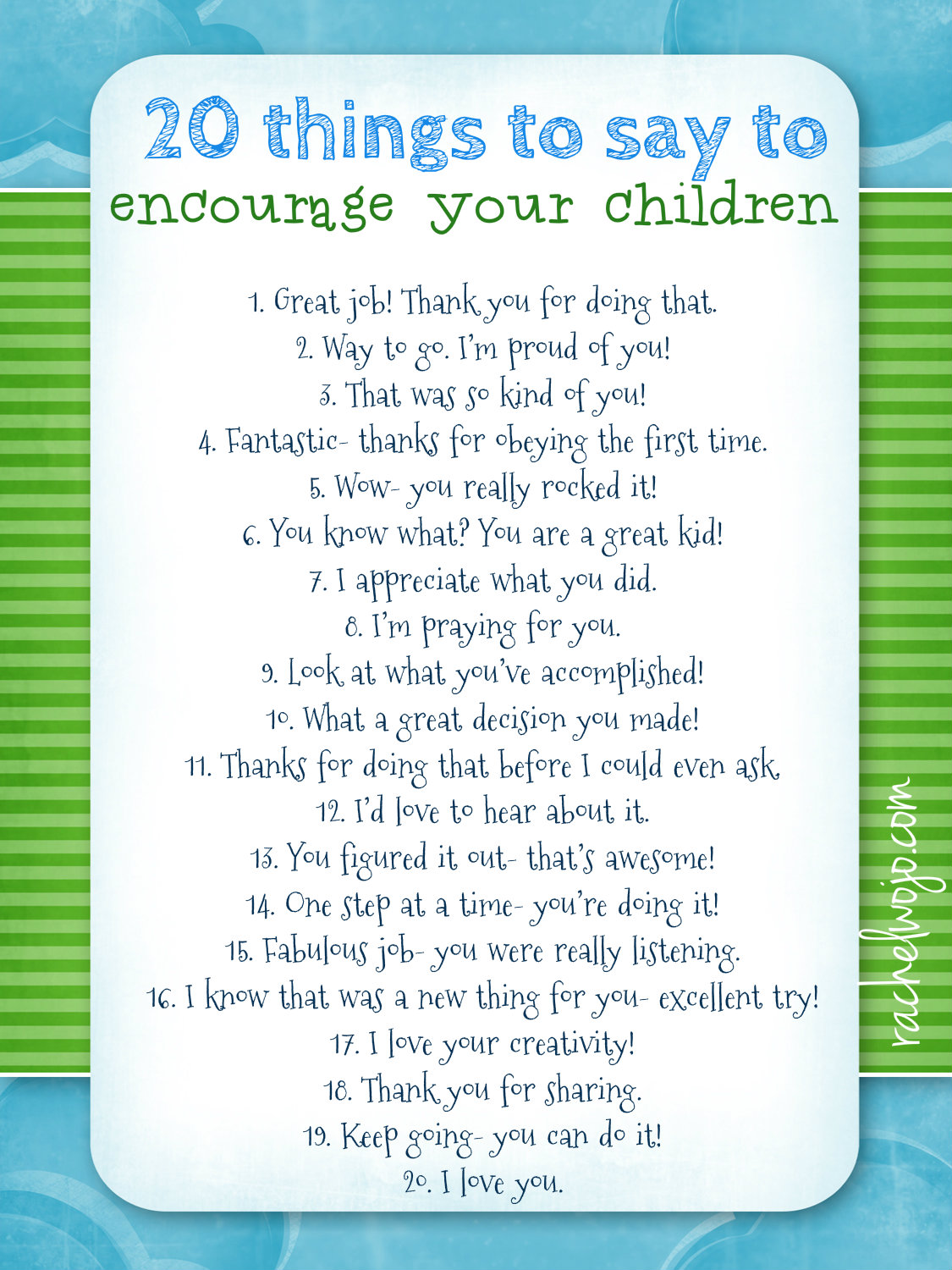 Free Encourage Your Children Printable