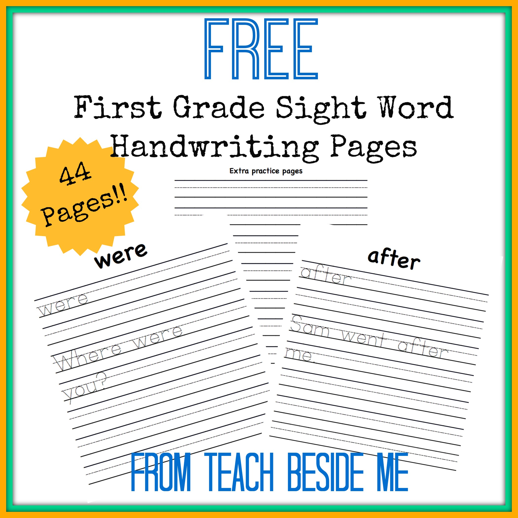 Free First Grade Sight Word Handwriting Pages
