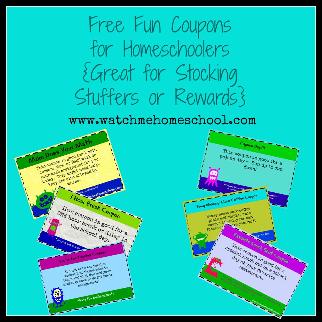 Homeschool Freebies Reward Coupons For Homeschoolers