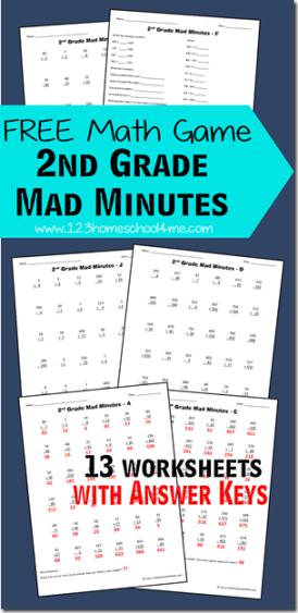Free Math Games: 2nd Grade Mad Minutes | Free Homeschool ...