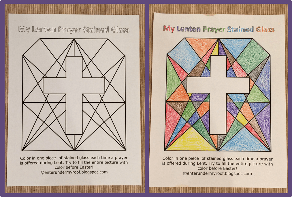 Free Lenten Prayer Printable Stained Glass Activity Free