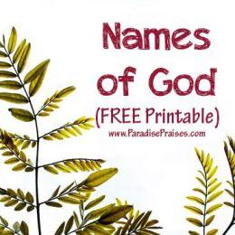 Free Names of God Cross Word Printable