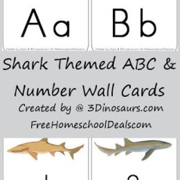 Free SHARK Themed ABC and Number Wall Card Printables