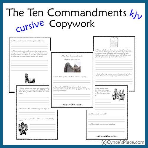 FREE 10 Commandments Copywork