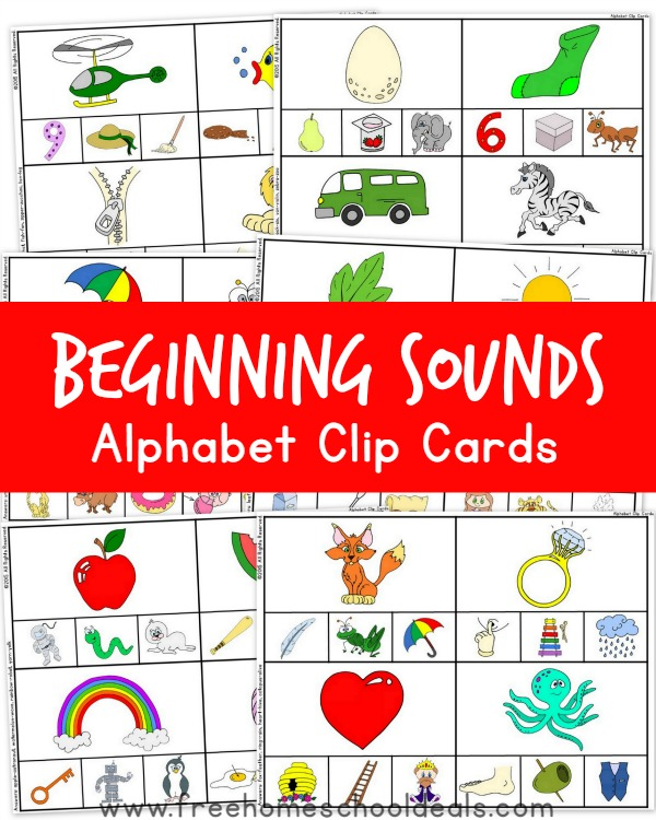 words from letters free beginning sounds alphabet clip cards free 46390
