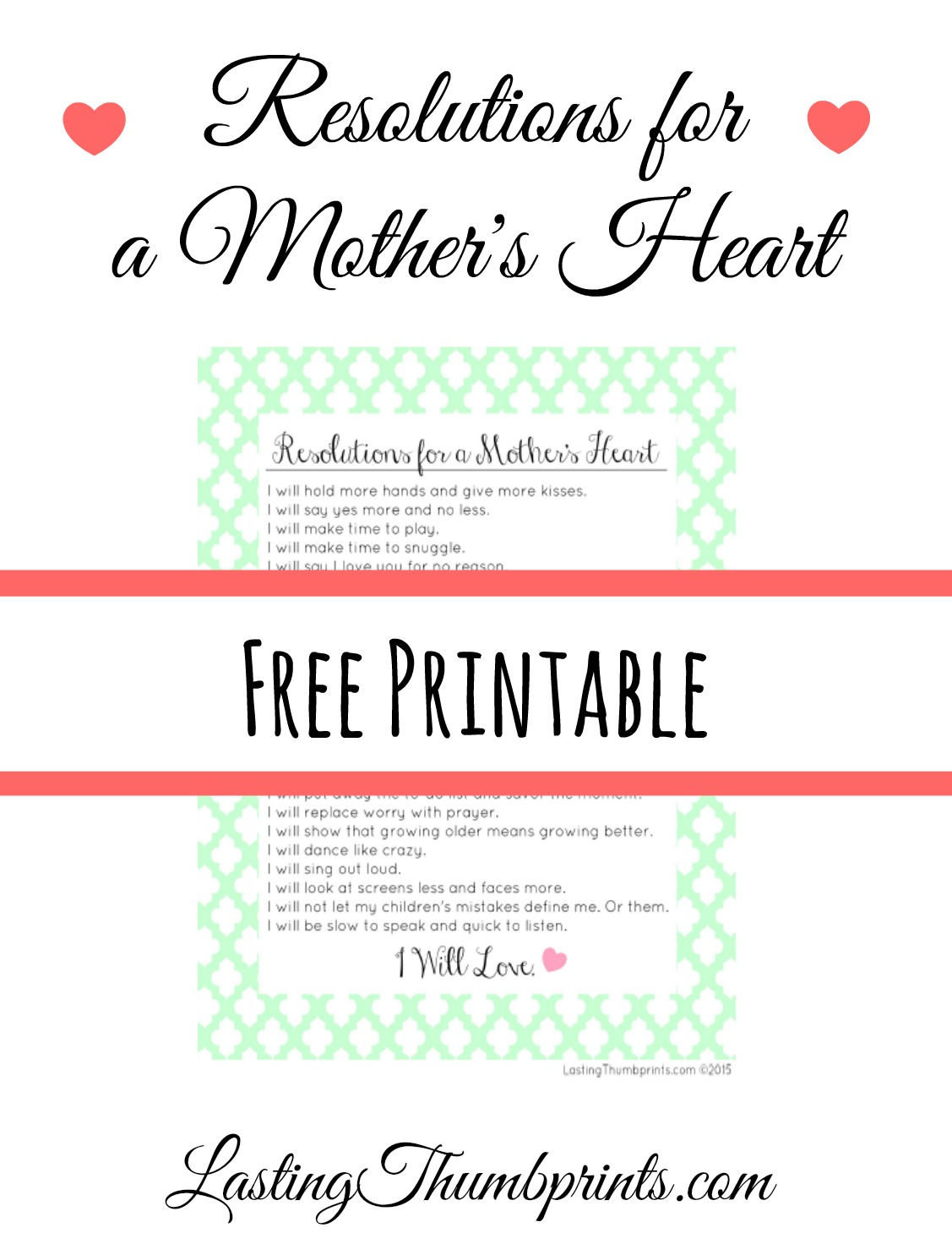 Free Mother S Resolutions From The Heart Printable