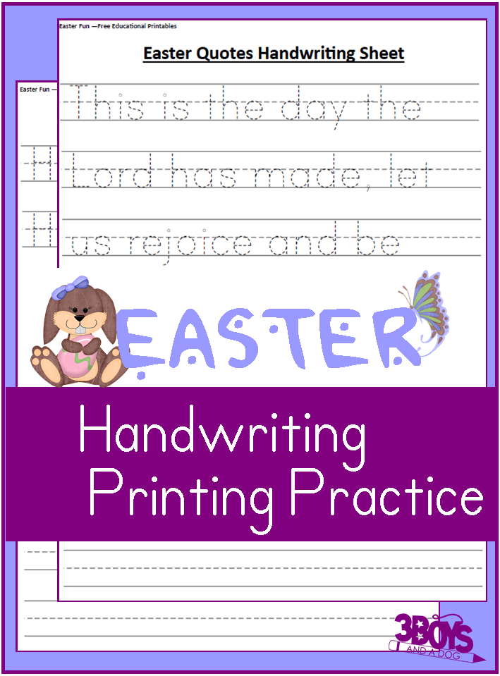 Free Easter Themed Handwriting Sheets