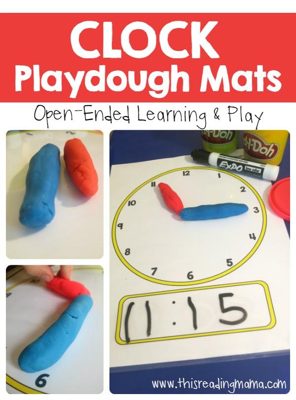 FREE Playdough Time telling mat