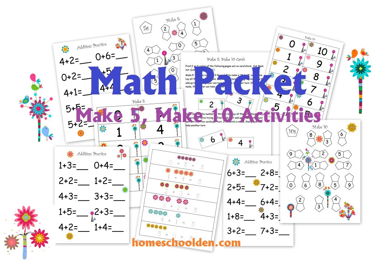 Free Flower Themed Math Pre K Pack