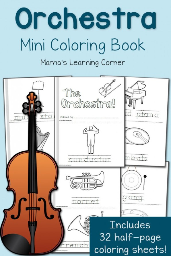 FREE Orchestra Coloring Pages Mini-book | Free Homeschool Deals ©