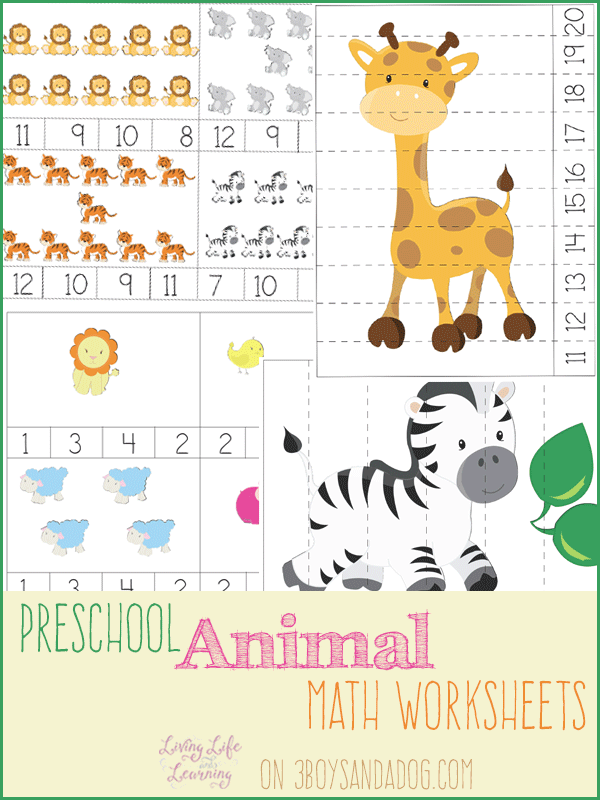 free prek animal themed math worksheets free homeschool deals. Black Bedroom Furniture Sets. Home Design Ideas