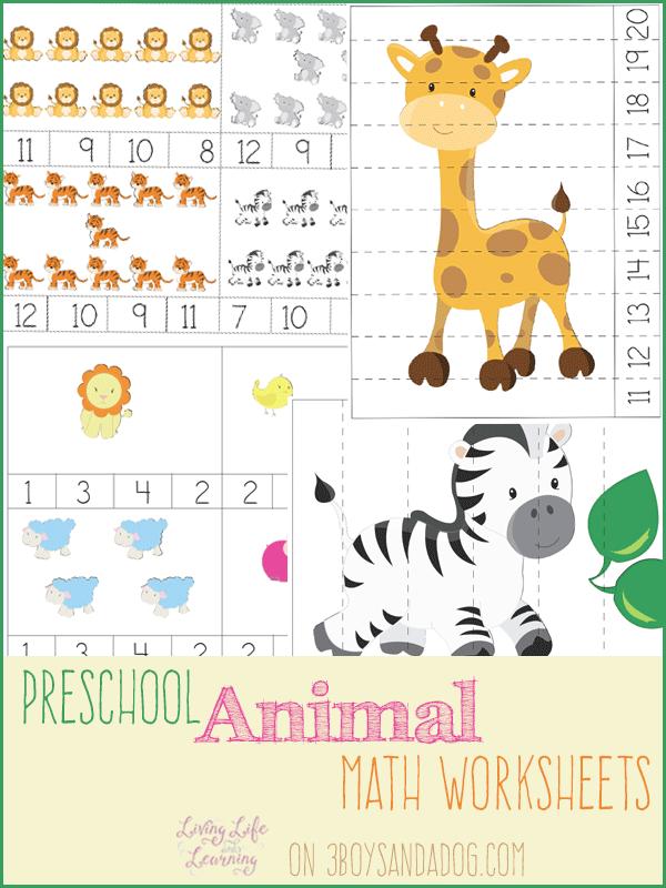 FREE PreK Animal Themed Math Worksheets | Free Homeschool Deals ©