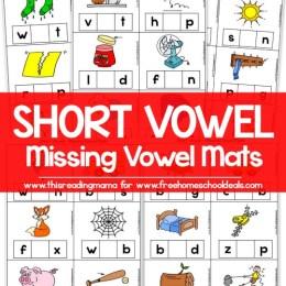 FREE SHORT VOWEL MISSING VOWEL MATS (instant download)