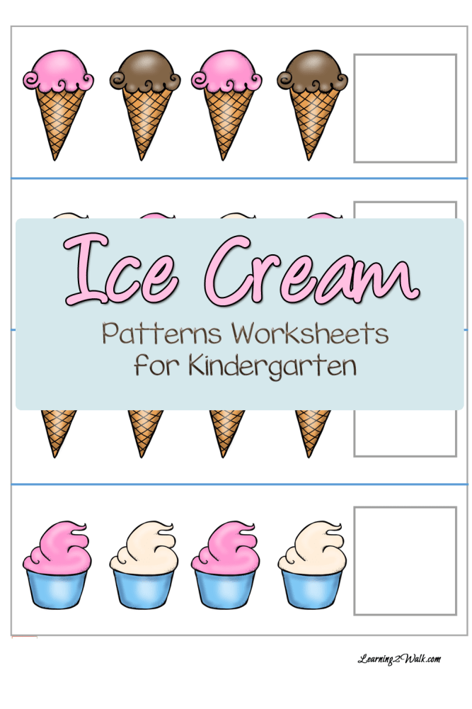 Free Ice Cream Patterns Worksheets For Kindergarten Free