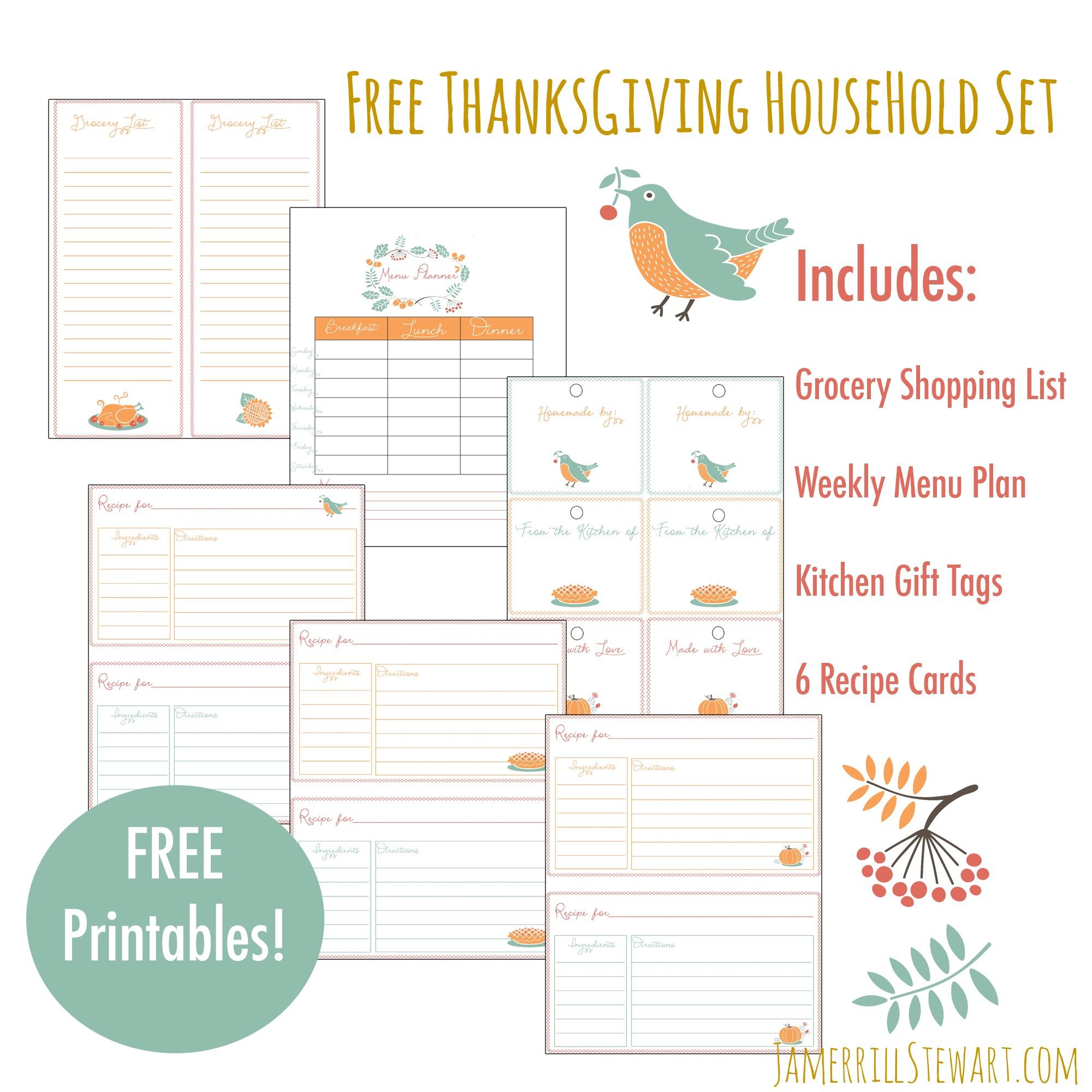 Free Thanksgiving Household Printables Set Grocery