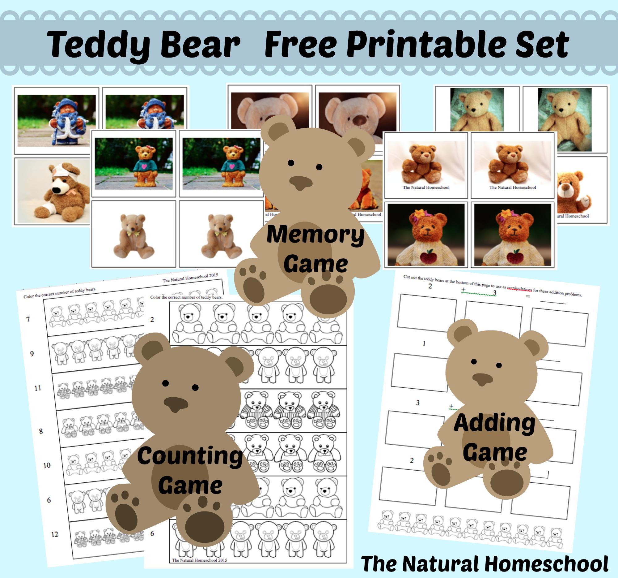 Free Teddy Bear Printables Set