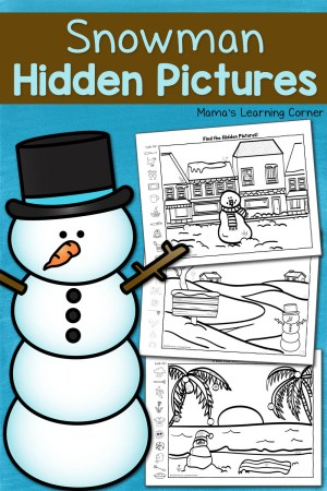 Snowman Hidden Picture Worksheets