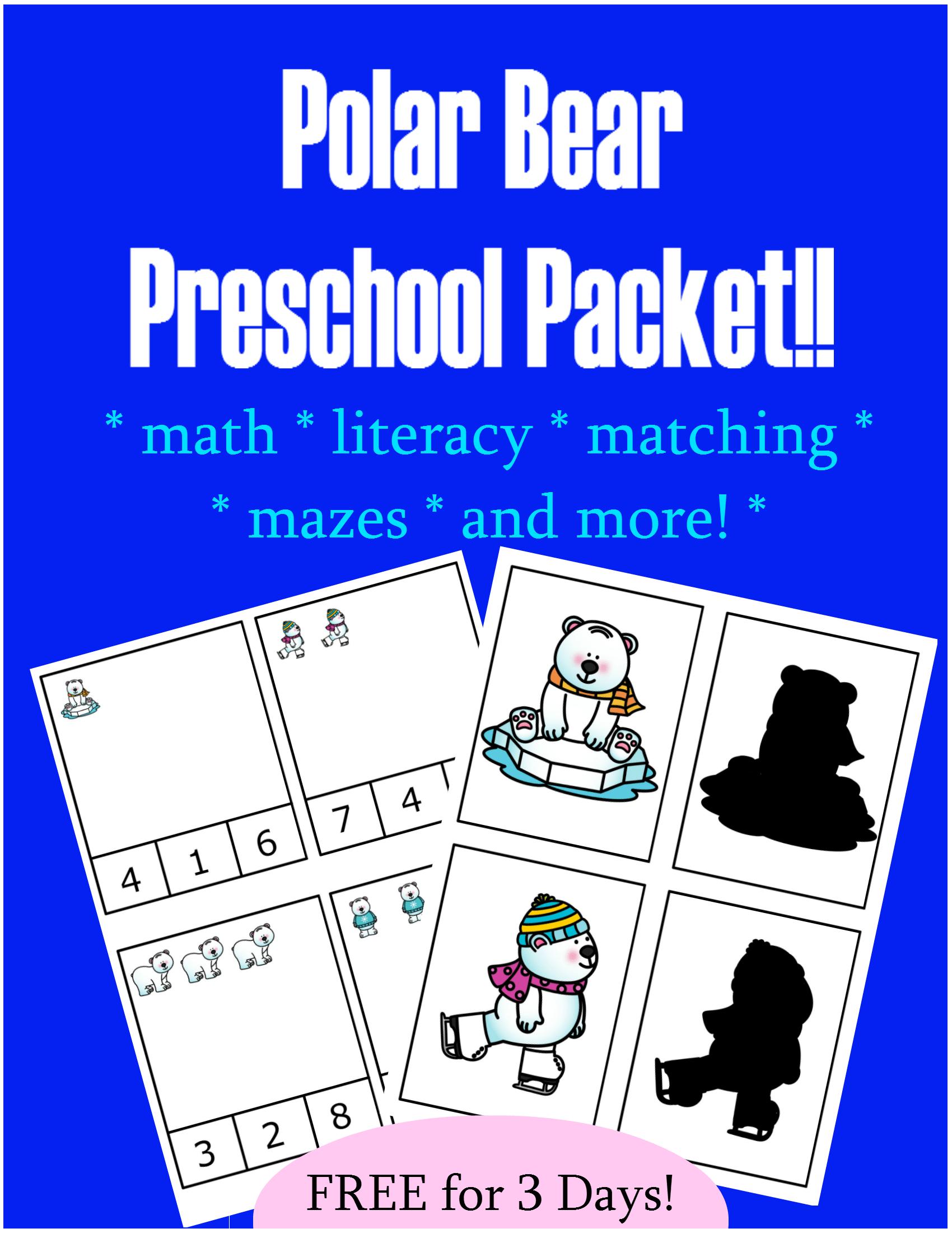 Free Polar Bear Preschool Packet