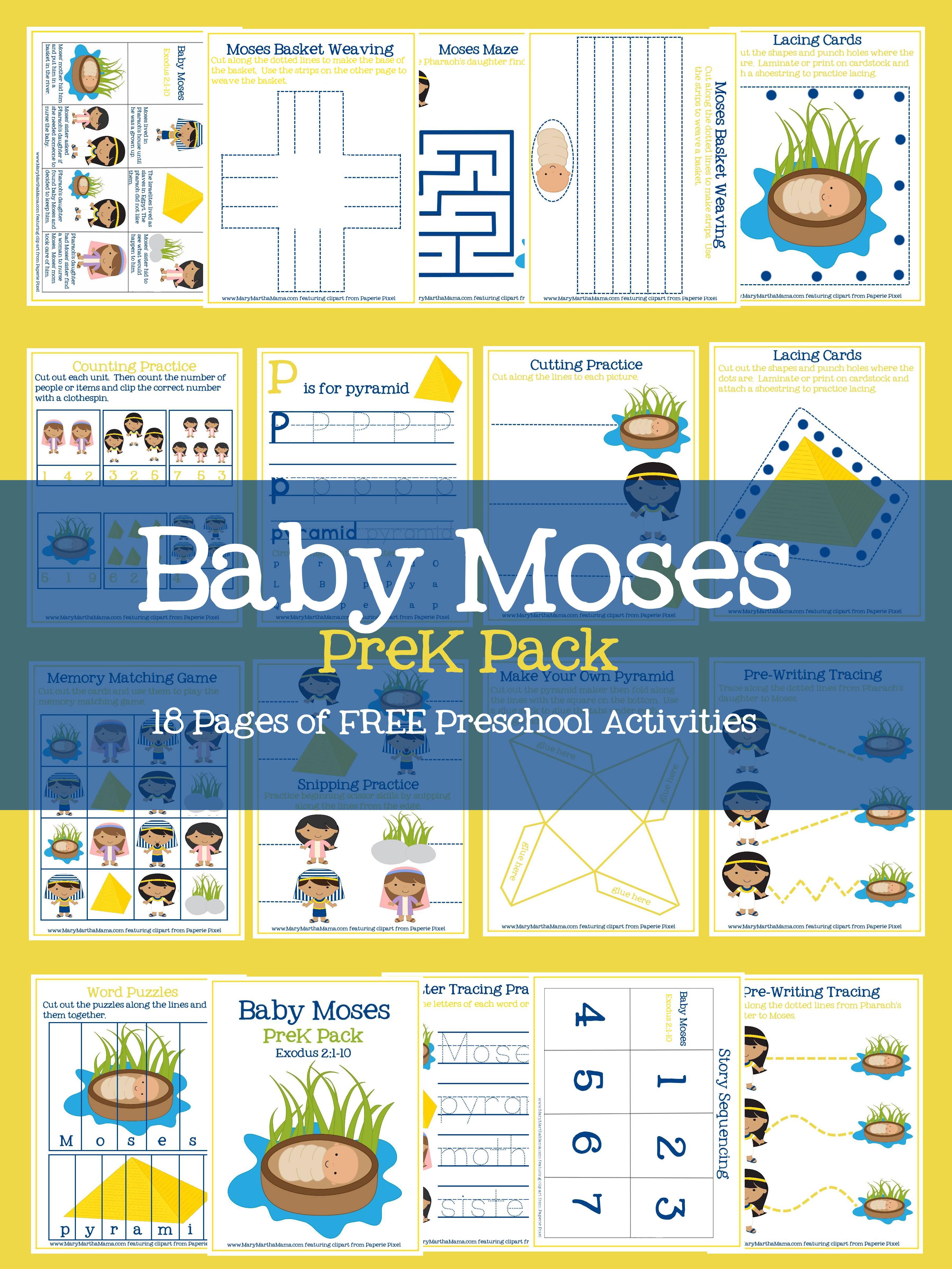 Free Baby Moses Prek Pack