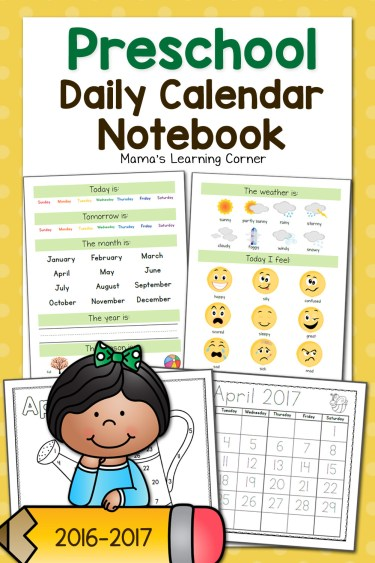 Preschool Calendar Notebook - days of the week, months of the year, weather, feelings, and more!