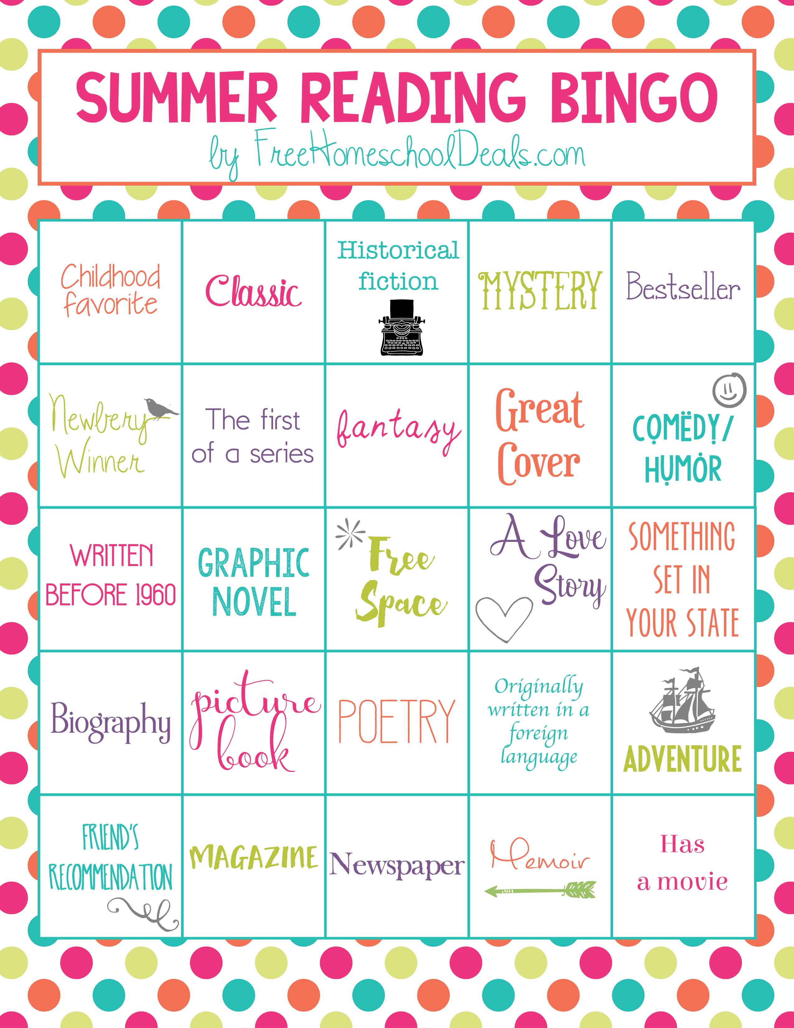 Free Summer Reading Bingo Instant Download