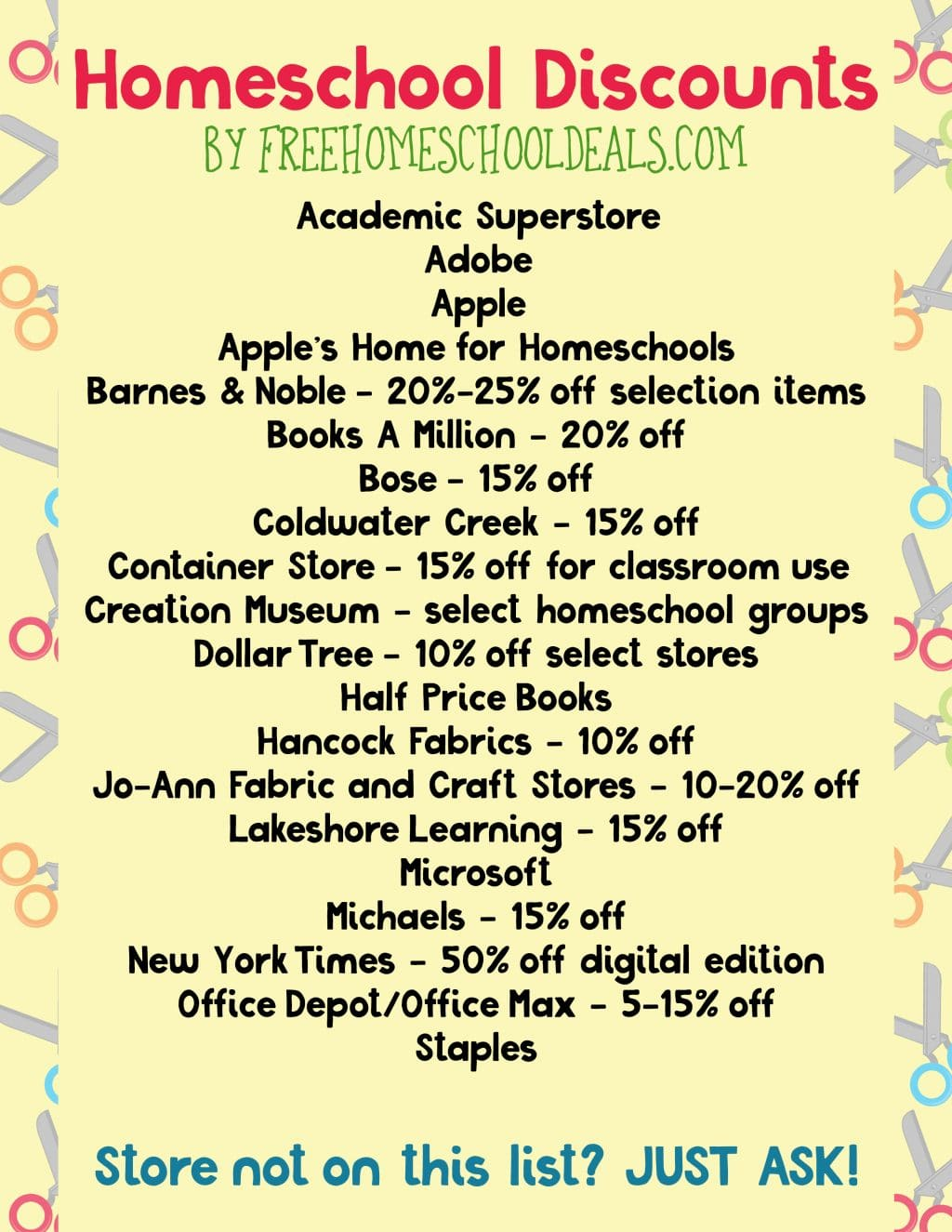 Free Homeschool Discounts Printables