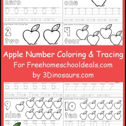 FREE APPLE NUMBER COLOR AND TRACE SET (Instant Download!)
