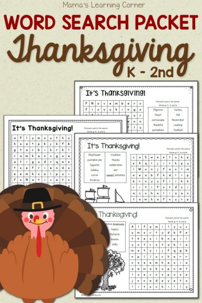 Free Thanksgiving Word Search Packet