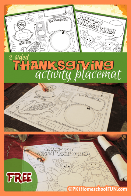 Free Thanksgiving Activity Placemat for Kids